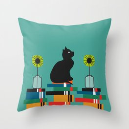 Cat, books and flowers Throw Pillow