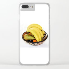 Fruit in a Wooden Bowl, Banana, orange, Pear, Plum Clear iPhone Case