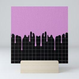 Purple Dripping Paint on Lines Mini Art Print
