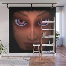 Mesmerizing Purple Eyes Girl Portrait Wall Mural