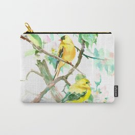 American Goldfinch and Apple Blossom Carry-All Pouch