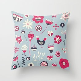 Scandi Birds and Flowers Blue Throw Pillow