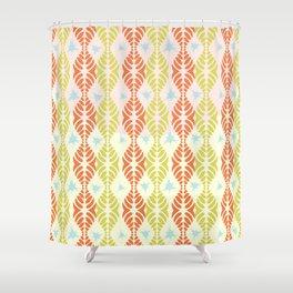 Leaf Motif Collection: Orange & Lemons with Blue Splat Shower Curtain