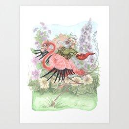 Grand Theft Flamingo Art Print