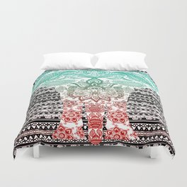 Indian Painted Elephant Duvet Cover