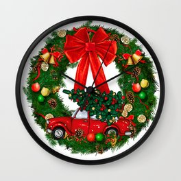Christmas Red Truck Wreath Wall Clock