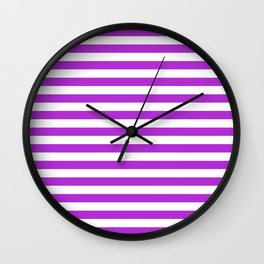 Stripes White And Purple Wall Clock