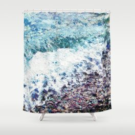 Waves lap at the shore - painting - art gift - abstract Shower Curtain