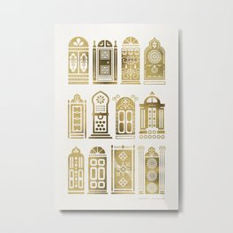 Moroccan Doors – Gold Palette Metal Print