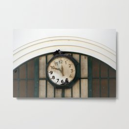 Vintage Station Clock with Birds Metal Print