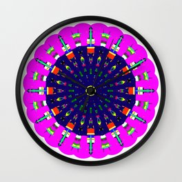Mandala Bright City Scape in Pink Green Yellow Blue Wall Clock