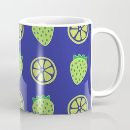 Tropical exotic grapefruit slices and sweet strawberries summer fruity green navy blue cute pattern design. Coffee Mug