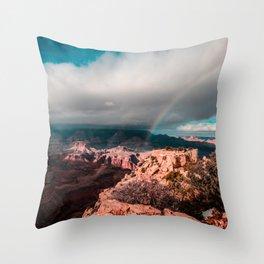 Rainbow over the Canyon Throw Pillow