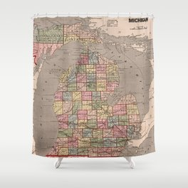 Vintage Map of Michigan (1844) Shower Curtain