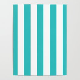 Maximum blue green - solid color - white vertical lines pattern Poster