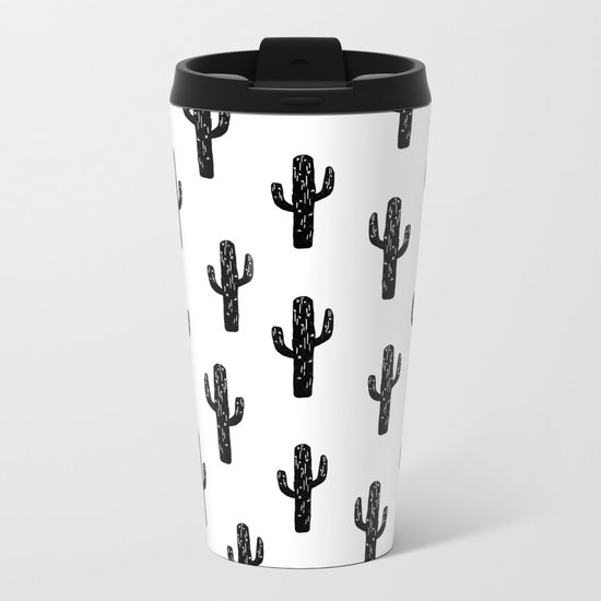 Cactus linocut pattern black and white minimal desert southwest socal joshua tree Metal Travel Mug