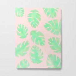Tropical Pastel Pink and Green Monstera Leaf Metal Print