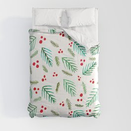 Christmas tree branches and berries - green and red Comforters