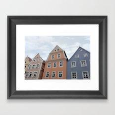 Pastel Houses - JUSTART © Framed Art Print