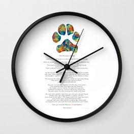 Rainbow Bridge Poem With Colorful Paw Print by Sharon Cummings Wall Clock