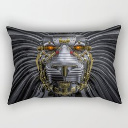 Hear Me Roar / 3D render of serious metallic robot lion Rectangular Pillow