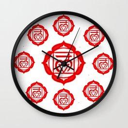 "RED SANSKRIT CHAKRA PSYCHIC WHEEL ""GROUND"" Wall Clock"