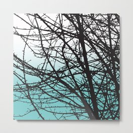 tree blue and white ombre Metal Print