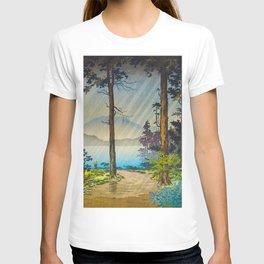Tsuchiya Kôitsu Japanese Woodblock Vintage Print Light Shining Through Forest Trees Lake T-shirt