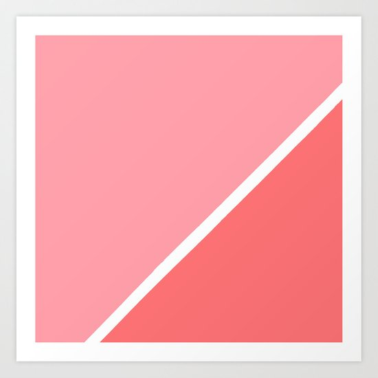 Modern minimalist geometric pink coral color block by girlytrend