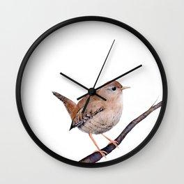 Wren, Bird, Brown Bird Watercolor Painting by Suisai Genki Wall Clock