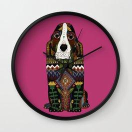 Basset Hound fuchsia pink Wall Clock