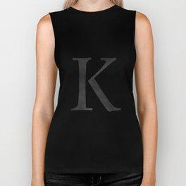Letter K Initial Monogram Black and White Biker Tank