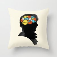 conan Throw Pillows featuring Sherlock Phrenology by Wharton