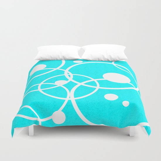 Circles on Blue Duvet Cover