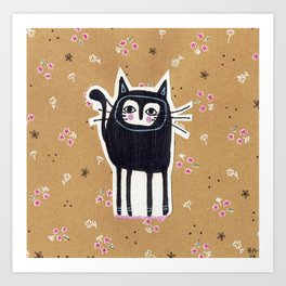 Black Cat Floral Art Print