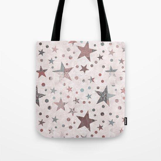 Pink Patchwork Stars Tote Bag
