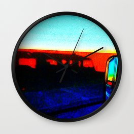 Landrover in shadow Wall Clock