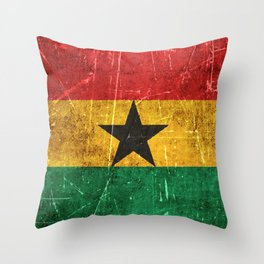 Vintage Aged and Scratched Ghana Flag Throw Pillow
