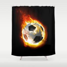 Soccer Fire Ball Shower Curtain