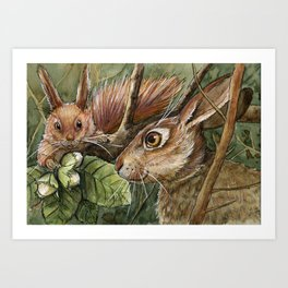 Bunny, squirrel and nuts A068 Art Print