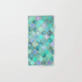Cool Jade & Icy Mint Decorative Moroccan Tile Pattern Hand & Bath Towel