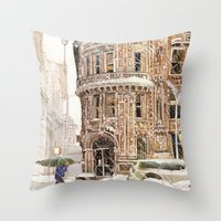 takmaj Throw Pillows featuring Winter in NYC by takmaj