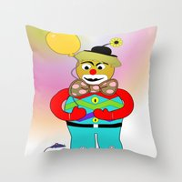clown Throw Pillows featuring Clown by LoRo  Art & Pictures