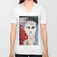 les mis V-neck T-shirts featuring LES MISERABLES by JANUARY FROST