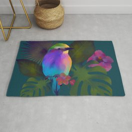 Tropical bird and exotic flowers summer painting Rug