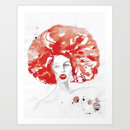 Mama Ru with a Huge Red Wig Art Print