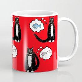 catnip enthused Tuxedo cats dreaming of cat nip toys and food Coffee Mug