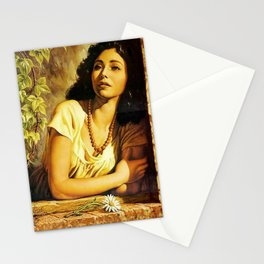 Mexican Calendar Girl at Window by Jesus Helguera Stationery Cards