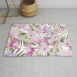 Tropical hand painted green magenta watercolor floral Rug