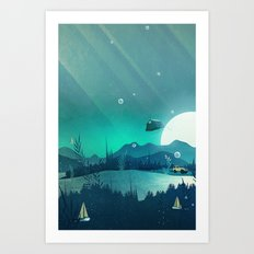 Beneath Barafundle Art Print